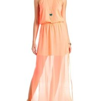 Tribal Racerback Neon Chiffon Maxi Dress - Fiery Coral