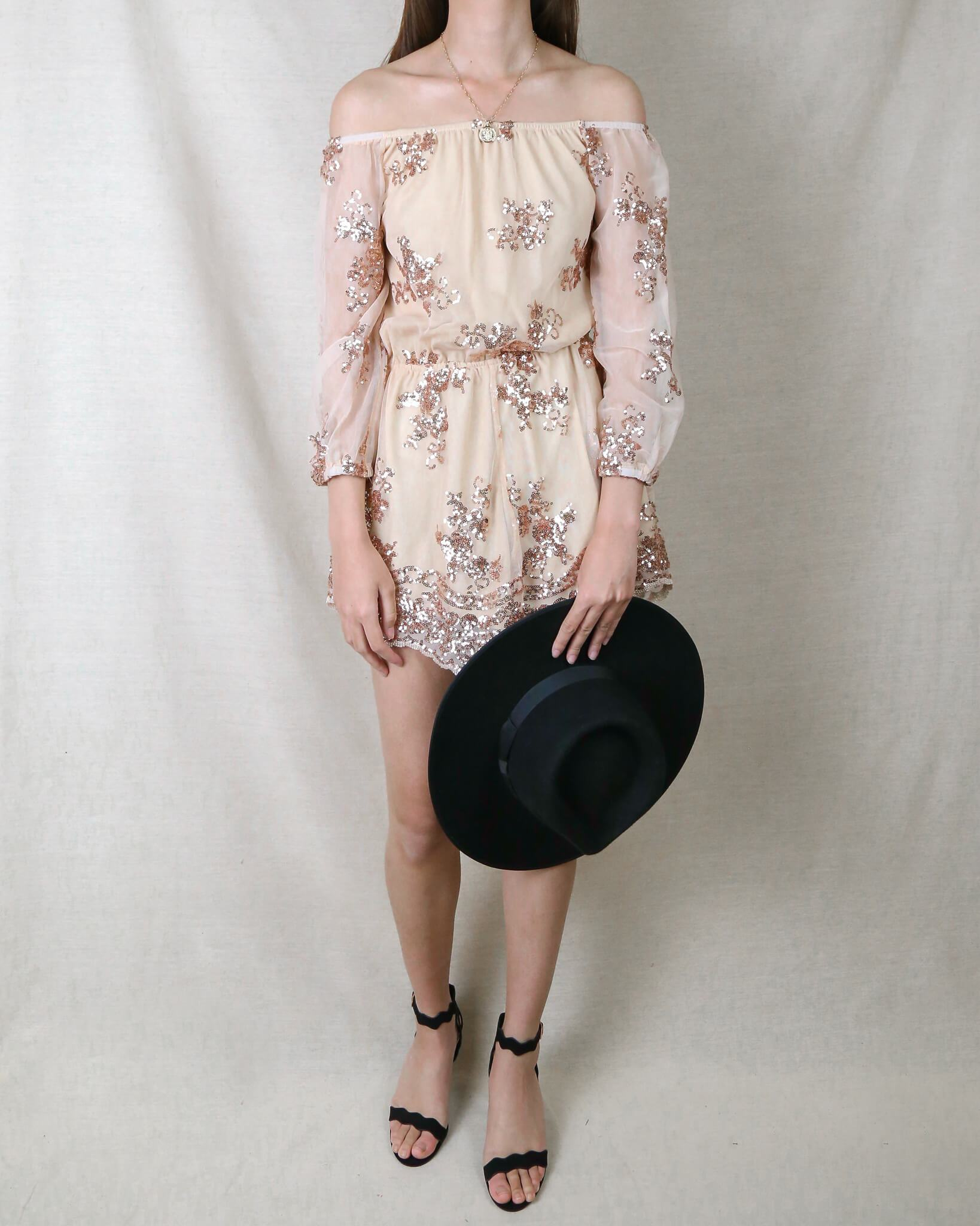 Image of Reverse - Life Of The Party Strapless Sequin Romper in Rose Gold