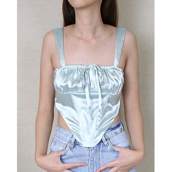 Sadie Satin Corset Tie Top in Mint
