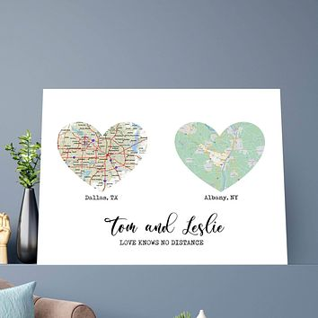 Love Knows No Distance Custom Canvas Set