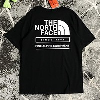 The North Face  Summer New Fashion Letter Print Women Men Top T-Shirt Black
