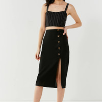 BOG Collective Button-Down Linen Midi Skirt | Urban Outfitters