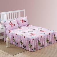 Bed Sheet Set Bedding Sets King Bed skirt set butterfly linens Mattress Cover Bedspread Contain 1 Bed Skirt 2 Pillowcase15