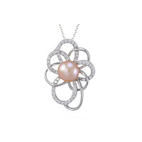 """Pink Pearl Flower Necklace Large White CZ Petals .925 Sterling Silver, 18"""" Chain"""