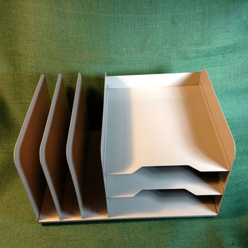 Vintage Metal Letter Tray Organizer for Desk or Office, Old heavy duty industrial style. 3 Tiers and 3 Divider Slots