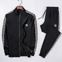 Versace Fashion Casual Loose Hooded Top Sweater Pullover Pants Trousers Set Two-Piece