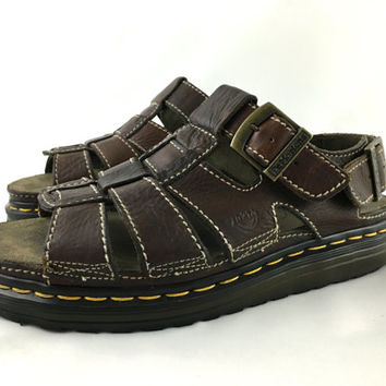 Dr. Martens Sandals Dark Brown Leather Fisherman Sandals Thick Chunky 90s Sandals Made in England Rugged Hiking Sandals UK9 US Men 10
