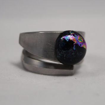 Glass Spoon Ring, Fused Glass Ring, Silverware Ring, Spiral Ring, Round Blue Pink Glass Ring, Speckled Ring, Thumb Ring