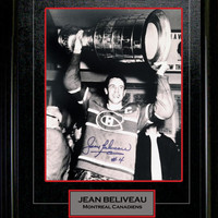 JEAN BELIVEAU FRAMED AUTOGRAPHED PICTURE - MONTREAL CANADIENS (STANLEY CUP)