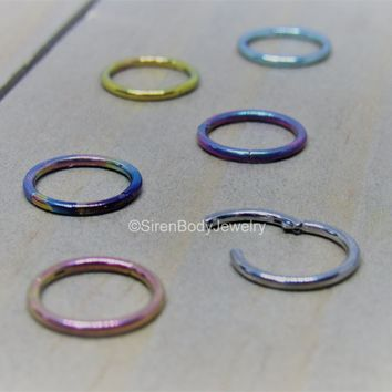 "Titanium nose hoop cartilage helix piercing 18g hinged segment ring 5/16"" diameter anodized easy clicker"