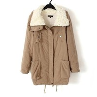 Promithi Womens Winter Cotton Parka Down Quilted Jacket (XS, khaki)