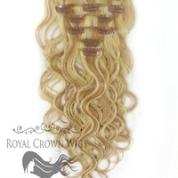 Brazilian 7 Piece Body Wave Human Hair Weft Clip-In Extensions in #27/#613
