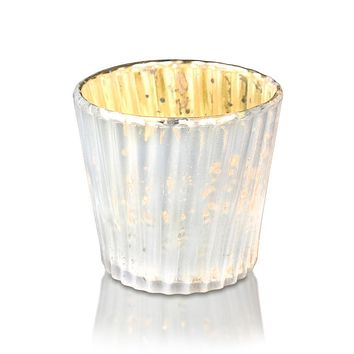 Vintage Mercury Glass Candle Holder (3-Inch, Caroline Design, Vertical Motif, Pearl White) - For use with Tea Lights - Home Decor, Parties and Wedding Decorations