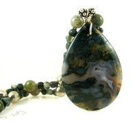 Green Moss Agate Gemstone Pendant Beaded Necklace with African Jade Gemstones and Silver Beads