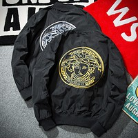 Versace 2017 spring and autumn youth tide brand men's embroidery baseball flight jacket