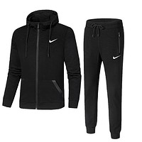 NIKE autumn and winter models cotton hooded casual running sportswear two-piece Black