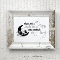 Pixie Dust Fairy Quote Vector Digital Design Download - Ready to use Digital File, Vector Saying, Printable Quotes, DIY Sign