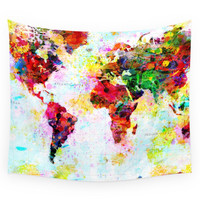 Society6 Abstract World Splatter Map Wall Tapestry