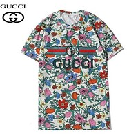 GUCCI  New fashion floral leaf letter embroidery letter stripe print couple top t-shirt