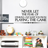 Wall Decal Quote Never Let The Fear Design Vinyl Decals Gym Playroom Nursery Living Room Bedroom Home Decor Art Mural 3791