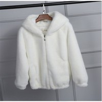 lovepeapomelo 2018 New Faux Fur Coat With Hood High Waist Fashion Slim Black Red Pink Faux Fur Jacket Fake Rabbit Fur D390