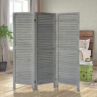 3 Panel Foldable Wooden Divider Privacy Screen with Plank Style and Hinges, Distressed White By The Urban Port