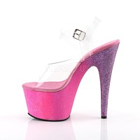 "Adore 708 Ombre Hot Pink Lavender Glitter Blend Effect Platform 7"" High Heel Shoe"