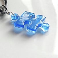 Autism necklace, autism awareness jewelry, puzzle piece necklace, handmade resin jewelry, autism jewelry, autism mom autism gifts.