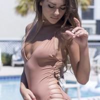 Weekend Waves Nude Strappy Back One Piece