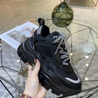 Kuyou Gx19711 Prada Black Thick Sneakers