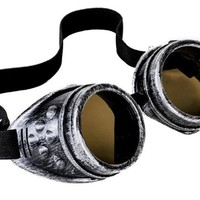 Plain Antique Silver Goggles DIY Cosplay Cyber Goth Glasses