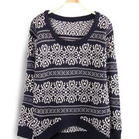 Carvings Pattern Arched Long Sleeve Knitted Sweater
