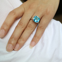 2017 Rings For Women Silver Plated Engagement Big Blue Crystal Stone Zircon Ring Women Wedding Bridal Bague Size 6 7 8 9 10
