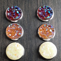 Druzy earring set- Ranch drusy stud set - druzy earrings