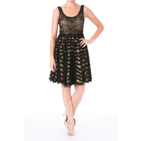 Sue Wong Womens Embellished Ruffled Cocktail Dress