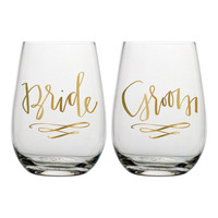 Bride/Groom Stemless Wine Glasses