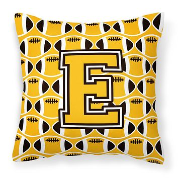 Letter E Football Black, Old Gold and White Fabric Decorative Pillow CJ1080-EPW1414