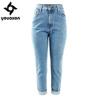 Women High Waist Washed True Denim Pants Jean Femme Boyfriend Jeans (Light Blue) (Denim Size In Inches 24-30) 1886 youaxon