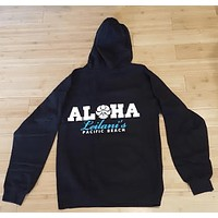 "HIC ""Aloha Leilanis"" Black with Turquoise Zip-Up Women's Hoodie"