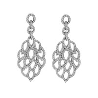 3/4ct tw Diamond Fashion Earrings in Sterling Silver and Platinum - Diamond Earrings - Jewelry & Gifts