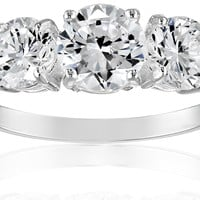 Sterling Silver Three-Stone Cubic Zirconia Ring (3.83 cttw):Amazon:Jewelry