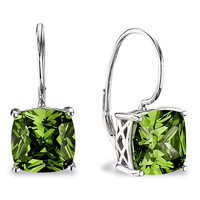 ESSENTIALS Lever Back Earrings - Fashionable Sterling Silver and CZ,Peridot