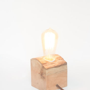 Wood lamp, reclaimed driftwood lamp, loft style, modern, industrial and simple table,bedside or desk lamp - rustic dark wax, in cord switch.