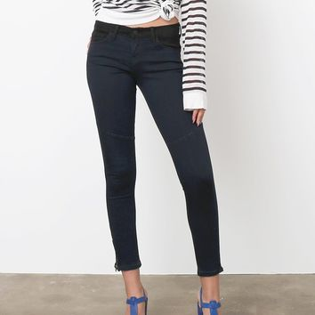 Outtake Two-Tone Skinny Jeans - Black/Dark Blue