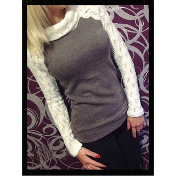 Fashion Women's Sweaters Lace High Neck = 1920041796