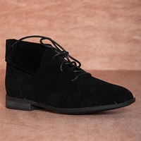 Breckelles Hitting Your Stride Fontana-13 Faux Suede Fold Down Lace Up Booties - Black