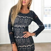 Star Crossed Lover Dress (Navy) | Xenia Boutique | Women's fashion for Less - Fast Shipping