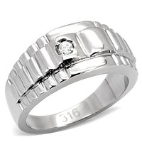 Mens Stainless Steel Rings TK120 Stainless Steel Ring with AAA Grade CZ