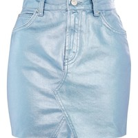 MOTO Blue Coated Mini Skirt | Topshop