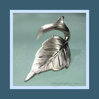 Leaf Ear cuff earring jewelry Antiqued silver Rose by RingRingRing